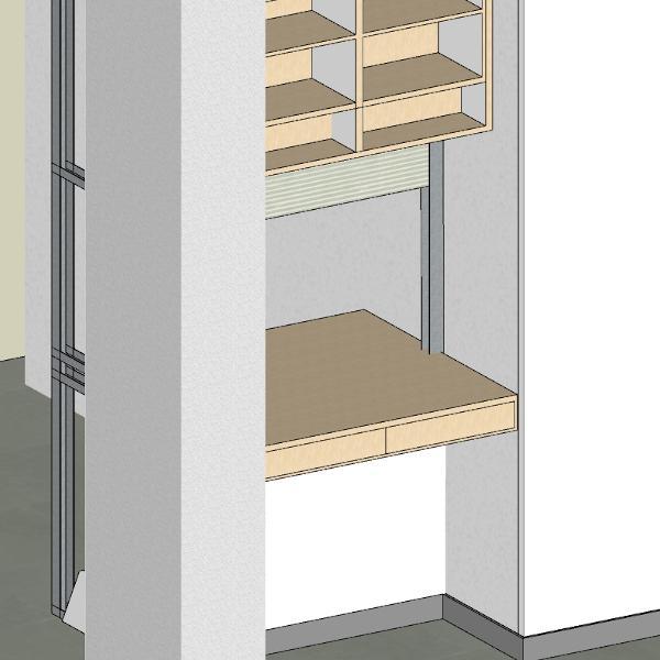 Particolare piano lavoro con cassetti
