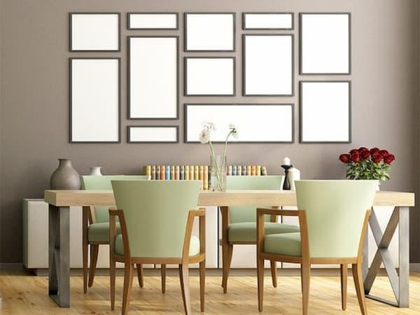 Disposizione quadri in sala da pranzo - Credits Pinterest