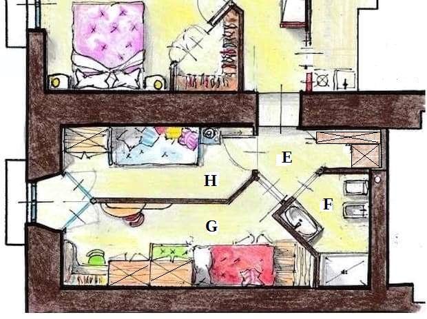 Progetto appartamento 90 mq - camerette
