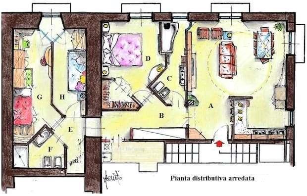 Appartamento 90 mq: pianta di progetto con arredi