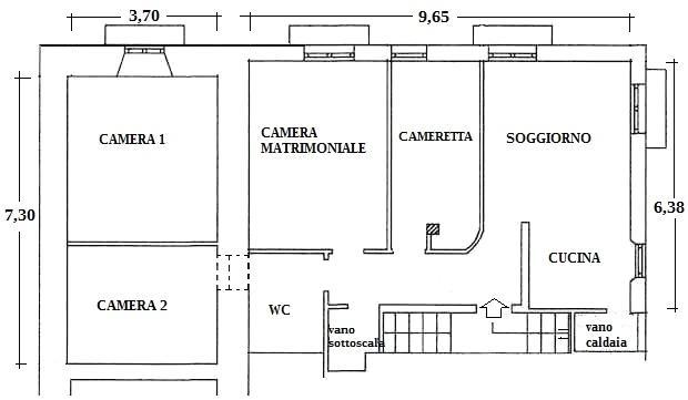 Appartamento 90 mq: pianta stato dei luoghi