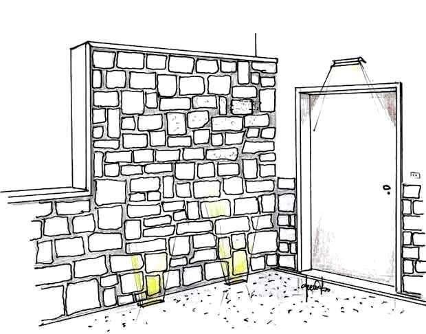 Rivestimento in pietra parete esterna - disegno