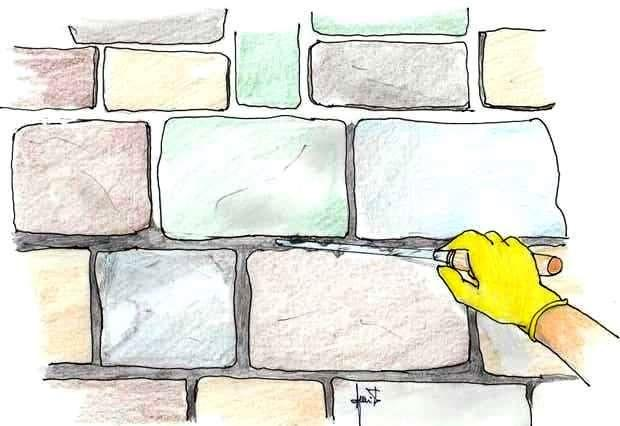 Covering a stone wall: filling joints