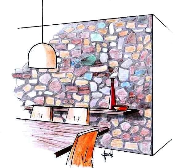 Rivestimento in pietra parete soggiorno