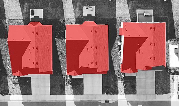 In rosso la Superficie Coperta di alcune villette di una lottizzazione