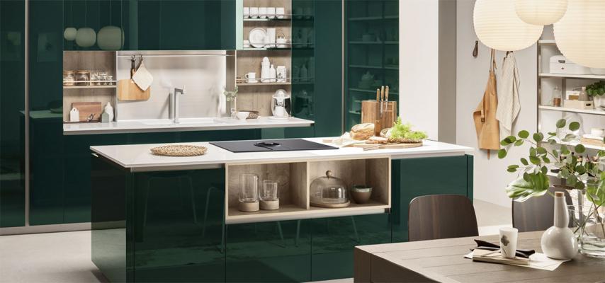 Cucina Lounge di Veneta cucine nel colore Verde Alpi