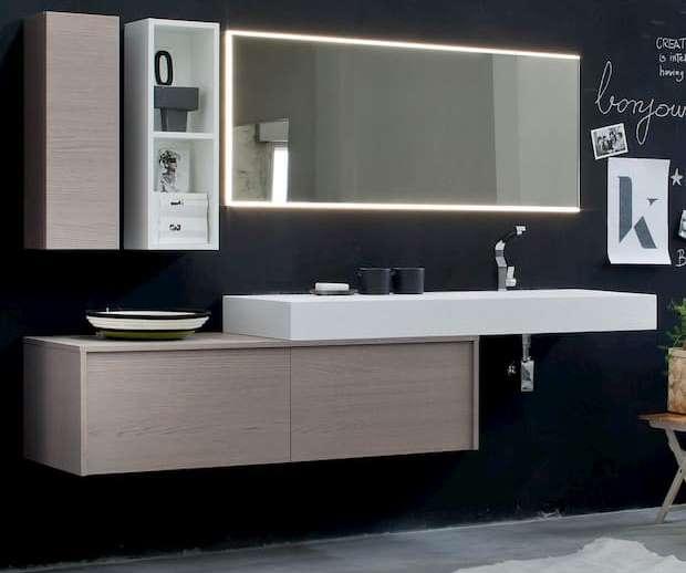 Mobili bagno sospesi con mensolone in tekorstone 3d, Diotti