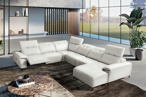 Divano per soggiorno moderno bianco, Maxdivani, linea Magda