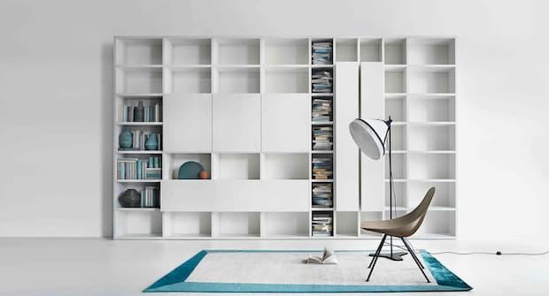 Soggiorno moderno bianco, Lema, libreria linea Selecta
