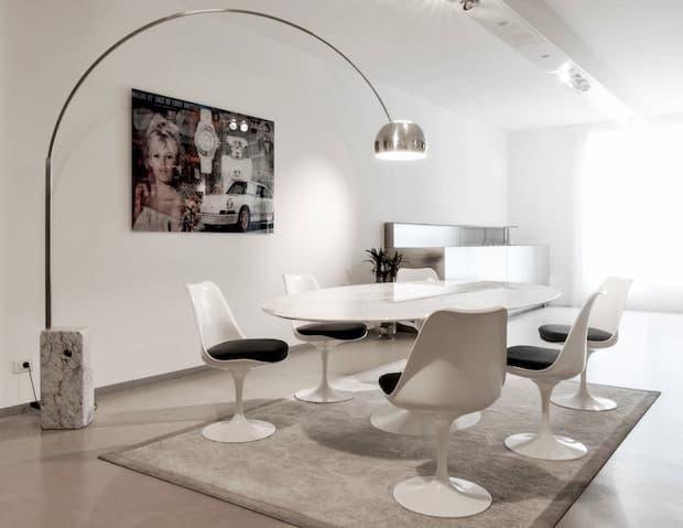 Soggiorno moderno bianco, collezione Pedestal, Fogliarini