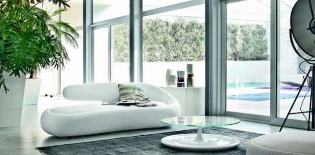 Soggiorno moderno bianco, divano total white, Tonin Casa, Duny