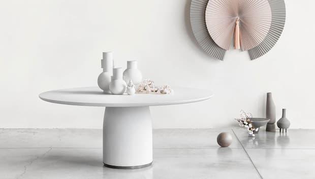 Tavolino per soggiorno moderno bianco, LEMA, modello Bulè