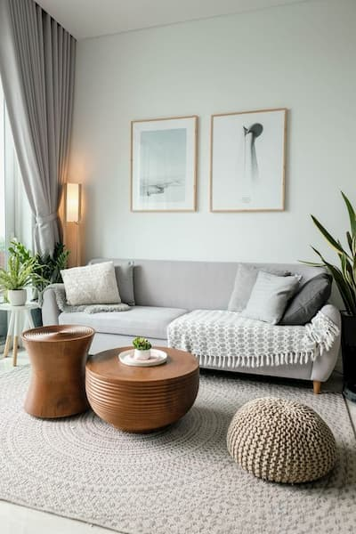Carpets in the living room as wide as the sofa - Pinterest credits