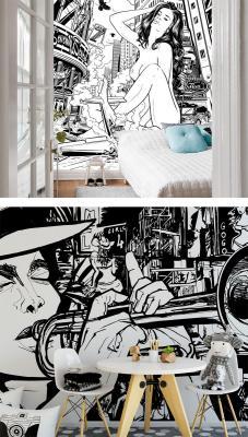 Fotomurali Drawstore - Desaster Pin Up Plane Crash  e Musicista - Soud of a Street di Wall-Art