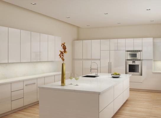 Cucina bianca contemporanea con top di okite