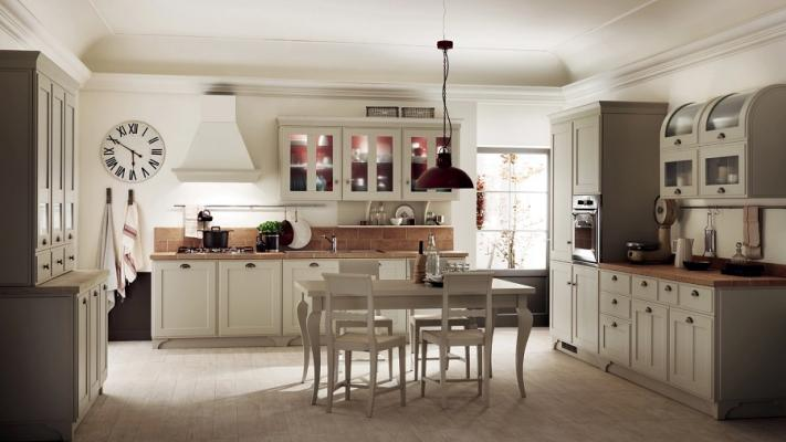 Scavolini, cucina Favilla con schienale attrezzato e piastrelle