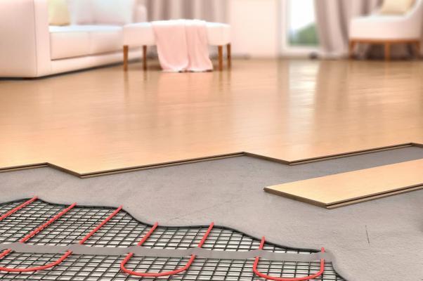 Sezione di un pavimento riscaldato