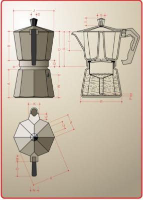 Progetto e sezione di una moka Bialetti. Foto Pinterest