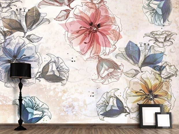 Design Carta da parati artistica collezione flowers ispirata al film Slevin