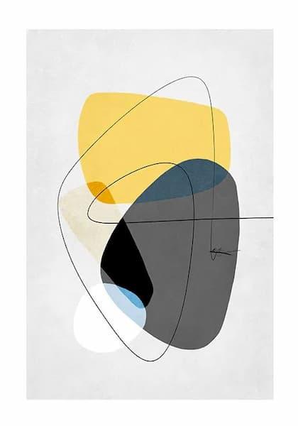 Stampa con elementi giallo e grigio da Desenio