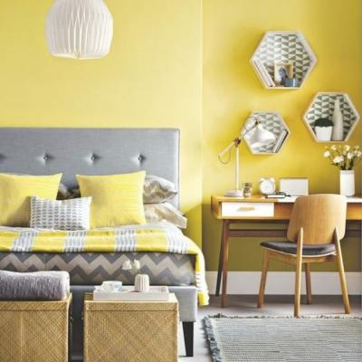 I colori dell'anno vengono portati anche in camera da letto - credits Pinterest