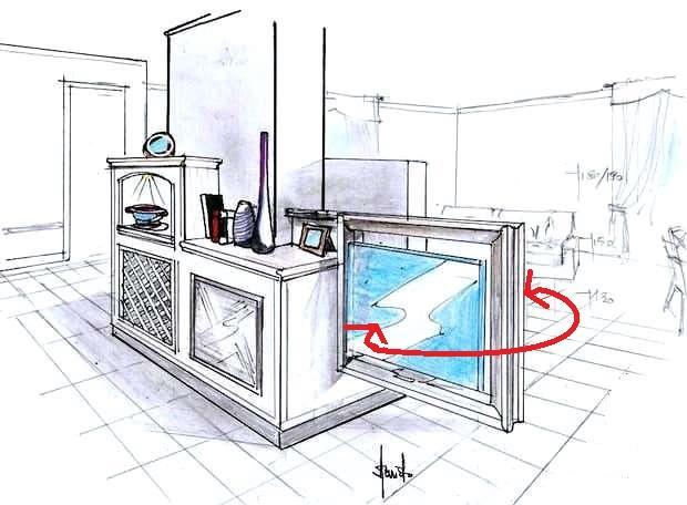 Camino bifacciale con TV girevole disegno