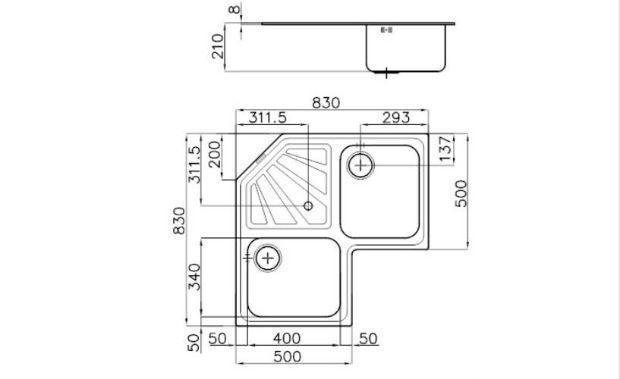 Le misure del lavandino angolare FOSTER