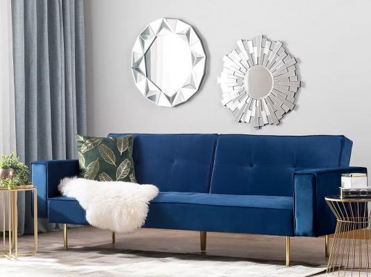 Blu navy in soggiorno, da beliani.it
