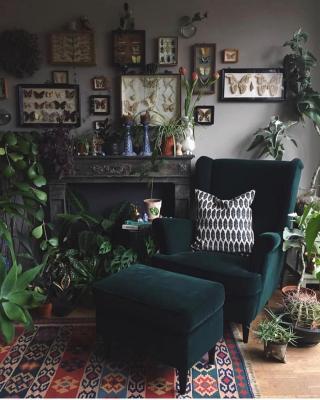 Salotto goth cottagecore, da apartmenttherapy.com