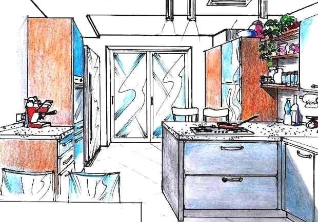 Disegno cucina con bancone