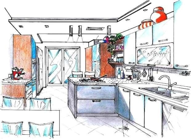 Cucina 13 mq disegno di progetto