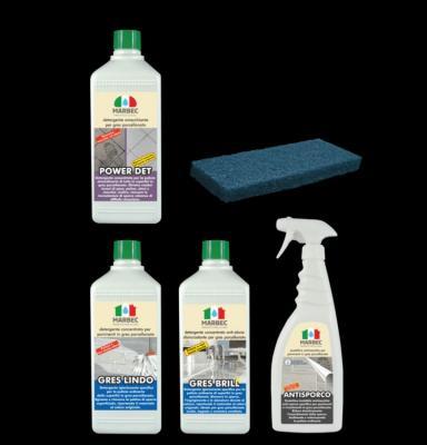 Kit della Mabec per la pulizia specifica del Gres