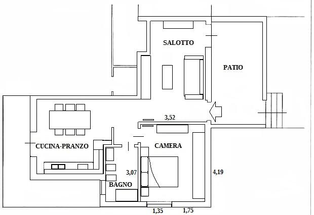 Camera con cabina armadio: appartamento prima