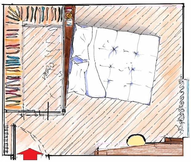 Camera 15 mq con cabina armadio: pianta arredata