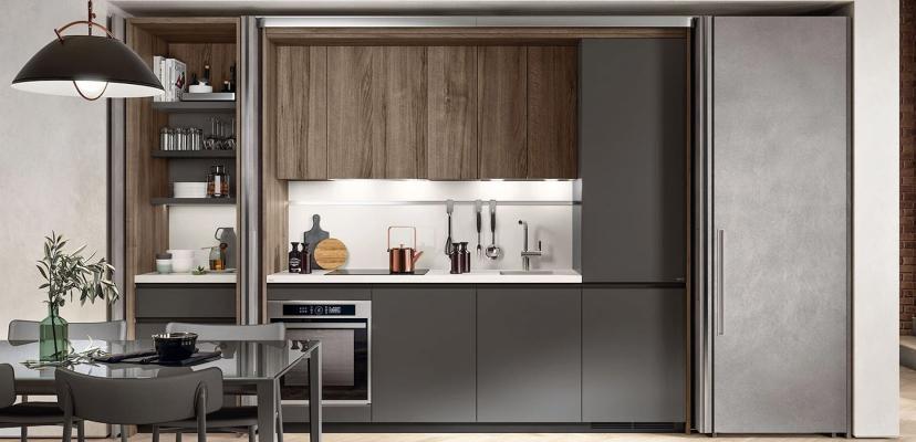 In cucina alcuni sistemi come Box Life di Scavolini fanno risparmiare spazio