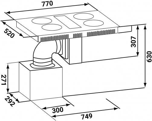 Misure della cappa integrata al piano cottura KKY KOLBE