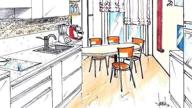 Come progettare una cucina con tavolo penisola diagonale