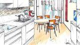Cucina con tavolo penisola