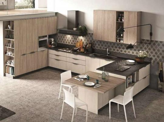 Cucina con tavolo penisola Infinity Stosa
