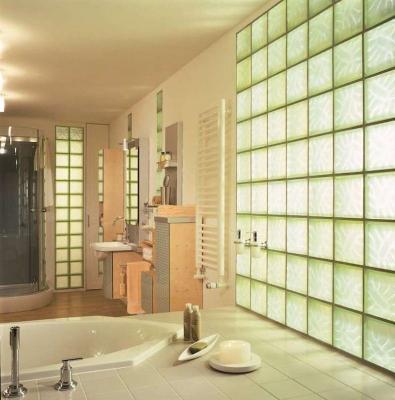 Bagno con pareti vetromattoni - Carro