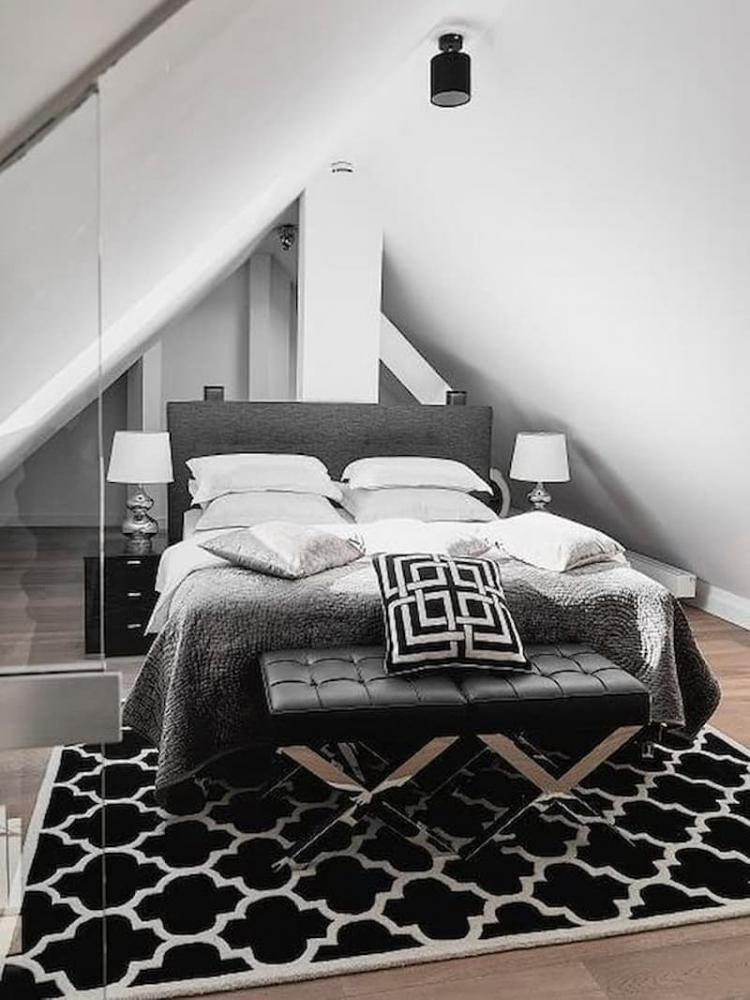 Camera da letto nera grigia e bianca Westwing