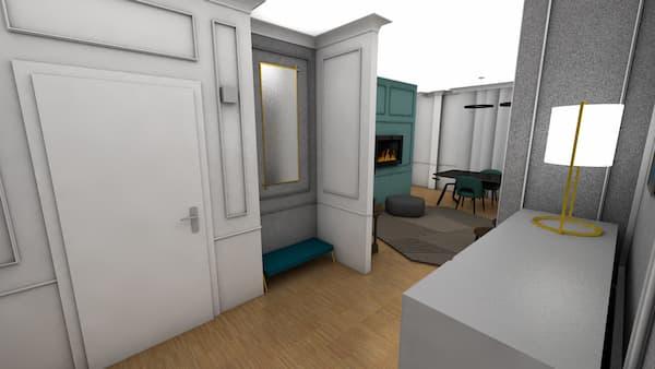 Boiserie con espejo en el interior del marco - Restyling por Caterina Scamardella Architect