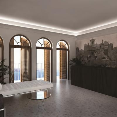 Cornicioni a soffitto retroilluminati completano una boiserie - Eleni