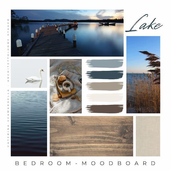 Moodboard con paleta de colores inspirada en los lagos - Por Caterina Scamardella Architect