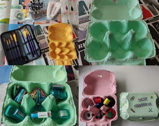 Organizador de escritorio con cartón de huevos, de Lavorincasa.it