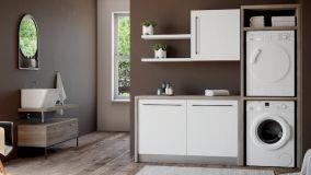 Mobile colonna lavatrice asciugatrice per guadagnare spazio in casa