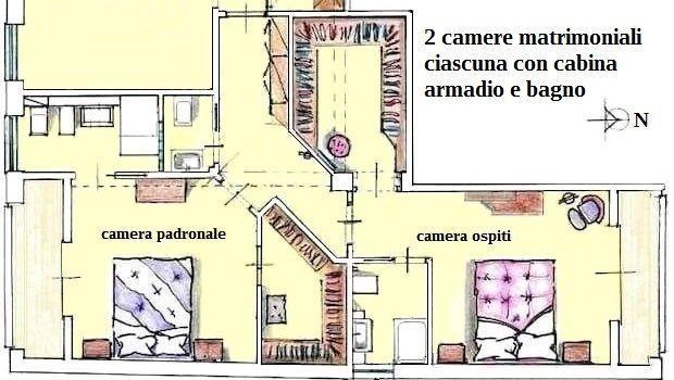 Due soluzioni per camera da letto con cabina armadio e bagno