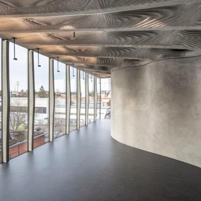 Un interno realizzato impiegando il cemento flessibile By Digital Buildng Technologies