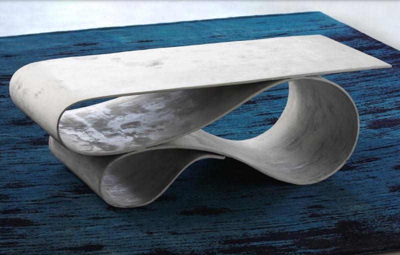 Tavolino per interni realizzato in cemento flessibile Rif. Pamono