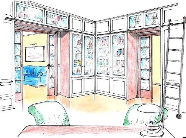 Sala de estudio con estantería: dibujo del proyecto